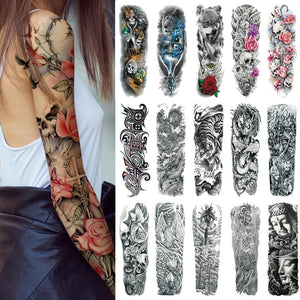 25 Design Waterproof Temporary Tattoo Sticker Full Arm Large Size Arm Tatoo Flash Fake Tattoos
