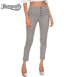 Benuynffy Vintage Button High Waist Plaid Pants Summer Office Lady Workwear Trousers Women Elegant