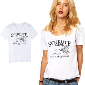 LUSLOS Schrute Farms Bed And Breakfast TShirt Radish Print Women Hot Summer Tee Tops Super soft Comfortable Short Sleeve