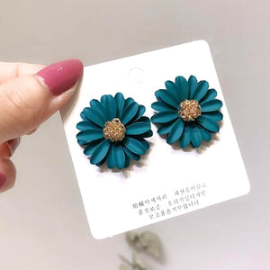Korean Style Cute Metal Flower Stud Earrings For Women Girl Fashion Big Sweet Earring Femme Brinco