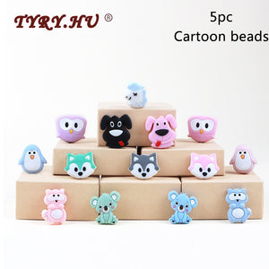 TYRY.HU 5pc Food Grade Cartoon Silicone Beads Mini Fox Penguin Puppy Elephant Koala Baby Teether BPA