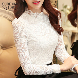 plus size tops fashion woman blouses 2018 white lace blouse shirt long sleeve women shirts blusas