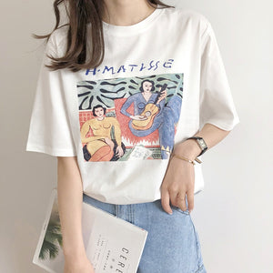 Vintage Print O Neck Short Sleeve Woman Cotton T-shirt Casual Loose Girls Summer Cotton Tees Pullovers