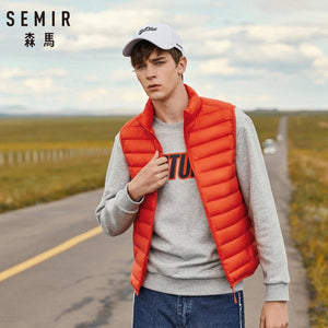 SEMIR Men Packable Puffer Vest with Stand-up Collar Men Padded Vest Lightweight Down Vest for Men