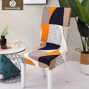 Naturelife Pattern Chair Protector Modern Silky Seat Case Removable Decorative Elastic Polyester
