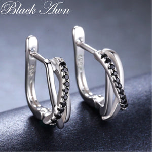Classic Genuine 925 Sterling Silver Jewelry Black Spinel Stone Cute Stud Earrings for Women Bijoux