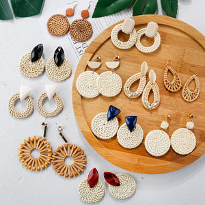AENSOA Multiple 2019 Korea Handmade Bamboo Braid Pendent Drop Earrings New Fashion Rattan Vine