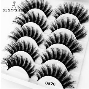 SEXYSHEEP 5 Pairs 3D Mink Hair False Eyelashes Thick Curled Full Strip Lashes Eyelash Extension