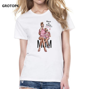 Mother's Love T-shirts for Women Mom and Duaghter White T-shirt Summer Short Sleeve Female T-shirts Top 2019 Vogue T Shirt