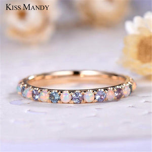 KISS MANDY Rose Gold Opal Ring Wedding Bands Classic Pearl Rings For Women Love Crystal Korean Jewelry Anniversary Gift KLR19