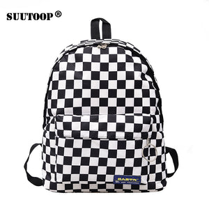 Unisex Plaid Nylon Female Travel Daypack Laptop Backpack Book Schoolbags Feminina School Casual Rucksack Women Bag Rugzak