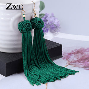 ZWC Vintage Ethnic Long Tassel Drop Earrings for Women Lady Fashion Bohemian Statement Fringe Dangle