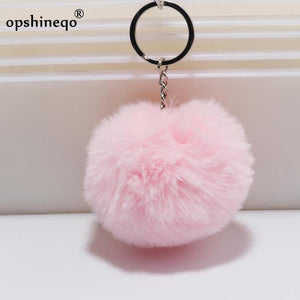 simple key chain Fur ball Pompon Keychain Pompom Artificial Rabbit Fur Animal Keychains For Woman