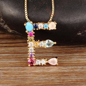Hot Sale Gold Color Initial CZ Necklace Personalized Letter Necklace Name Jewelry For Women