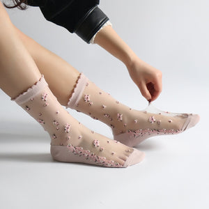 1 Pair Breathable Ultra Thin Socks Summer Women Transparent Lace Silk Crystal Rose Flower Girls
