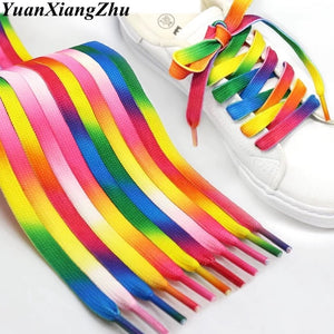 1Pair Colorful Laces Rainbow Gradient Print Flat Canvas Shoe Lace Shoes Casual Chromatic Colour Shoelaces 80CM/100CM/120CM BC-1