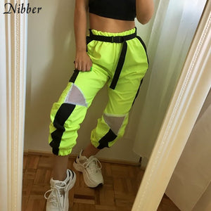 Nibber spring fashion Neon green pants women's Loose casual Straight Pants hot high Waist Active
