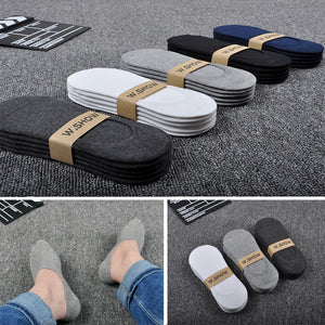 5 Pairs/Lot New Cotton Men Invisible Socks Men Sock Slippers Silicone Soft Breathable Sweat