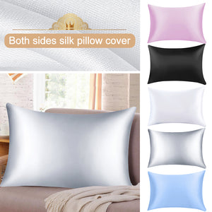 1PC Soft Mulberry Plain Pillow Case Pure Emulation Satin Square Pillow Single Cover Chair Seat