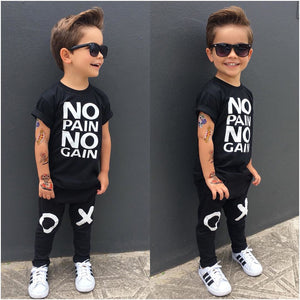Pudcoco Boy Clothes 1Y-6Y Toddler Kids Baby Boy Outfits Clothes No pain no gain T-shirt Top+Pants