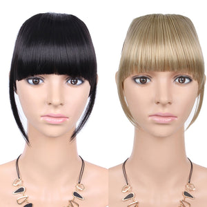AliLeader Black Brown Blonde Fake Fringe Clip In Bangs Hair Extensions With High Temperature