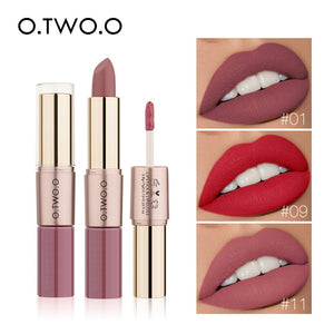 O.TWO.O 2 in 1 Matte Lipstick Lips Makeup Cosmetics Waterproof Pintalabios Batom Mate Lip Gloss