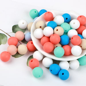 37Color 10pc Silicone Beads 12mm bpa free Baby Teething Toy DIY pacifier Chain Nurse Gift Silicone Beads Teether For Necklace