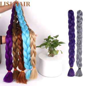 LISI HAIR Synthetic Crochet Braids In Jumbo Braiding Hair One Piece 82 Inch 165g/pcs Pure Color In