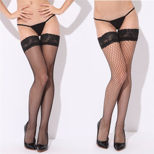 Sexy Mesh Stockings Women Sexy Lace Top Sheer Stay Up Knee Thigh High Silicone Stockings Fishnet