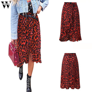 Womail Skirt Women Summer Leopard Print Vintage Long Women's Casual High Waist Pleated Skirt Fashion M27