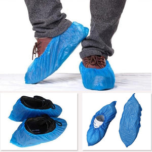 100Pcs Plastic Waterproof Disposable Shoe Covers Rainy Day Carpet Floor Protector Thick Cleaning Shoe Cover Blue Overshoes #20
