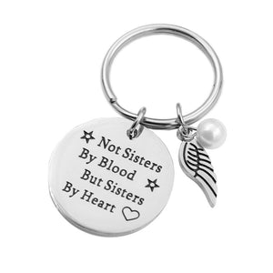 "VILLWICE Best friends keychain keyring ""not sisters by blood but sisters by heart"" friendship"