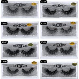 Eldridge Fake Lashes 1Pair 3D Mink Eyelashes Hand Made Cilios Long Lasting Volume Lashes Extension