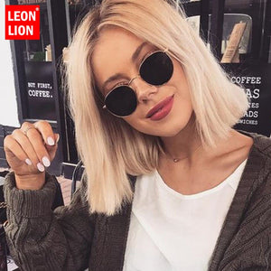 LeonLion 2019 Classic Small Frame Round Sunglasses Women/Men Brand Designer Alloy Mirror Sun Glasses Vintage Modis Oculos