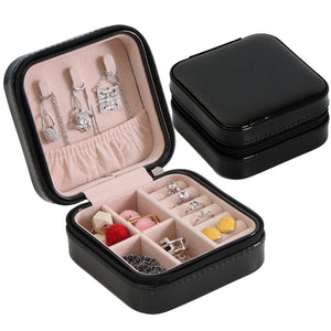 Jewelry Organizer Display Travel Jewelry Case Boxes Portable Jewelry Box Zipper Leather Storage