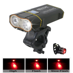 6000LM Bicycle Light 2x XML-L2 LED Bike Light With USB Rechargeable Battery Cycling Front Light