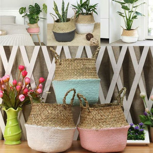 Mini Bamboo Storage Baskets Foldable Laundry Straw Patchwork Wicker Rattan Seagrass Belly Flower Pot