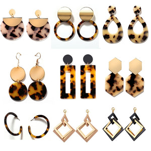 Bohemia Acrylic Resin Drop Earrings Women Leopard Print Round Dangle Earrings Boho Fashion Female