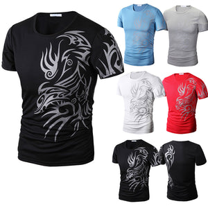 Fashion Summer Men T-Shirt Short Sleeve O Neck Chinese Style Printing Tops Comfortable Man Casual T-Shirts QL Sale