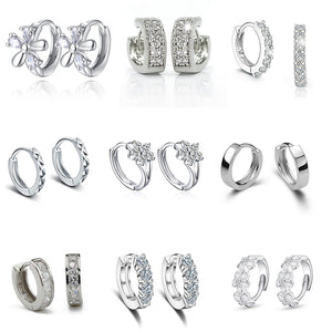 Luxury New 2019 Stud Earrings 925 Sterling Crystal Zircon Row Silver Huggie Earrings For Women