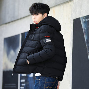 New Fashion Men Winter Jacket Coat Hooded Warm Mens Winter Coat Casual Slim Fit Student Male