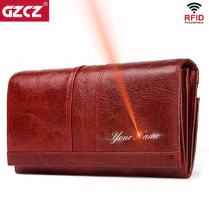 GZCZ Genuine Leather Women Fashion Clutch Wallet Female Coin Purse Portomonee Clamp For Phone Bag