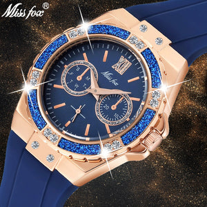 MISSFOX Women's Watches Chronograph Rose Gold Sport Watch Ladies Diamond Blue Rubber Band Xfcs