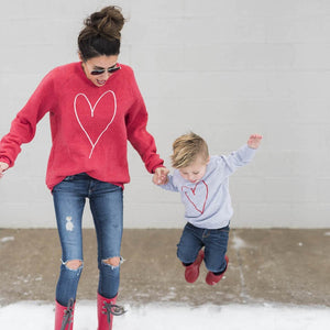 Autumn Style Family Match Clothes Long Sleeve Heart Print Woman Kids Boy Girl T-shirt Tops Outfit