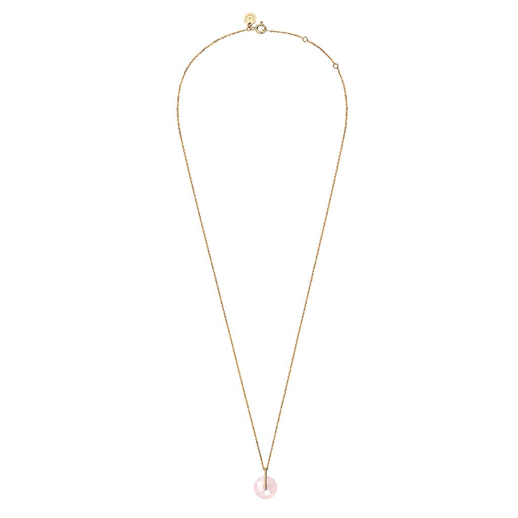 MORGANNE BELLO COLLIER HONORÉ OR JAUNE QUARTZ ROSE POUDRE