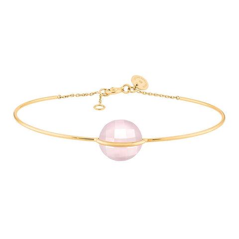 MORGANNE BELLO BRACELET RIGIDE HONORÉ OR JAUNE QUARTZ ROSE POUDRE