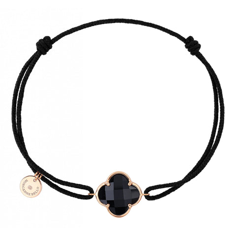BRACELET MORGANNE BELLO VICTORIA CORDON NOIR ONYX OR ROSE