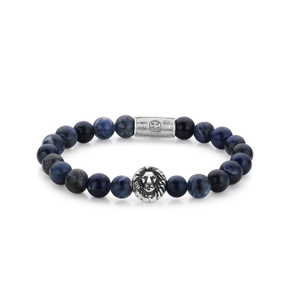 BRACELET REBEL & ROSE MAD BLUE LION 8MM