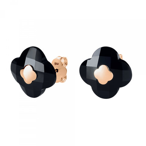 MORGANNE BELLO BOUCLES D'OREILLE VICTORIA OR ROSE ONYX