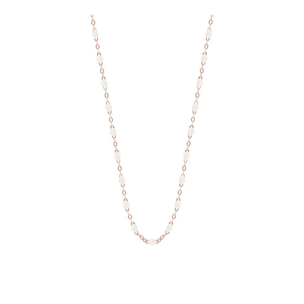 COLLIER GIGI CLOZEAU OR ROSE 50 CM BLANC